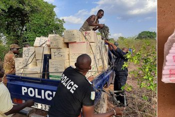En Malí (izquierda) y Níger, los agentes del orden interceptan armas de fuego, municiones y explosivos ilícitos.