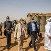 UN peacekeeping chief Jean-Pierre Lacroix, in centre with sunglasses, visited Ménaka, Mali, where he met with the Governor, President of the Interim Authority, armed groups signatories to the peace agreement, civil society and the local commander, among otthers.