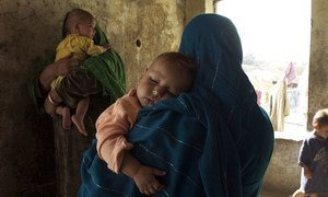 Displaced women and children in Afghanistan's northern Saripul province.