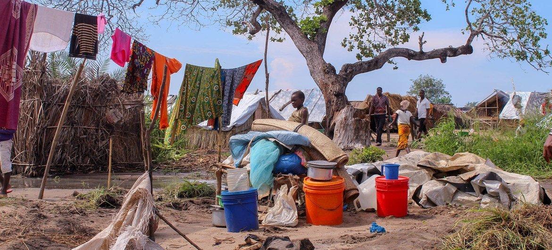 Des familles déplacées dans le nord du Mozambique ont trouvé un abri temporaire.