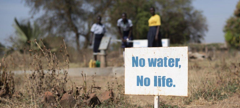 """لافتة في مدرسة في جنوب السودان كتب عليها """"لا ماء، لا حياة""""."""