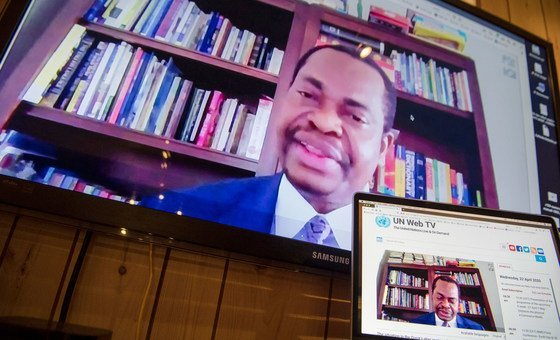 Minister Counsellor Paul Losoko Efambe Empole of the Democratic Republic of the Congo speaks during the open video conference with Security Council members in connection with the Great Lakes region.