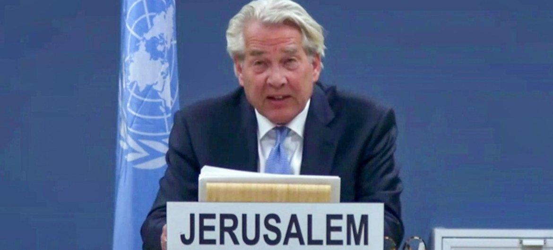 Le Coordinateur spécial des Nations Unies pour le processus de paix au Moyen-Orient, Tor Wennesland, informe (par vidéoconférence) le Conseil de sécurité (photo d'archives).