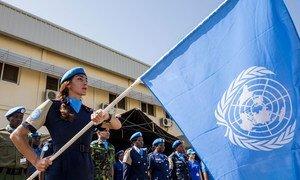 La police de la MINUSS marque la commémoration de la Journée internationale des Casques bleus des Nations Unies et défilent à l'occasion de la Journée internationale des Casques bleus des Nations Unies (29 mai), à Juba, au Soudan du Sud.