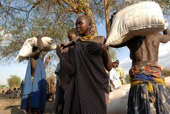 The UN's World Food Programme has been distributing food in Pibor town in South Sudan.