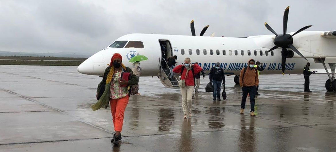 Aid workers arrive in Mekelle in the Ethiopian region of Tigray on the first humanitarian passenger flight there.