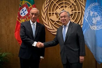 Secretário-geral da ONU, António Guterres, com o presidente de Portugal, Marcelo Rebelo de Sousa