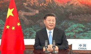 中国国家主席习近平在联合国大会第75届会议上发表视频讲话。
