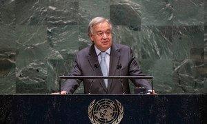 Le Secrétaire général de l'ONU, António Guterres, s'exprime lors du débat général de la 75e session de l'Assemblée générale des Nations Unies.