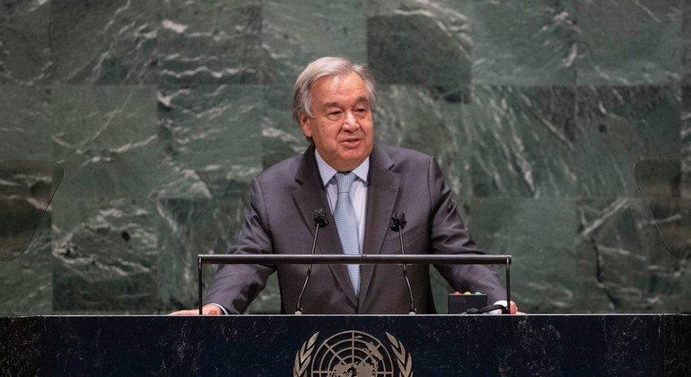 Photo ONU/Eskinder Debebe Le Secrétaire général de l'ONU, António Guterres, s'exprime lors du débat général de la 75e session de l'Assemblée générale des Nations Unies.