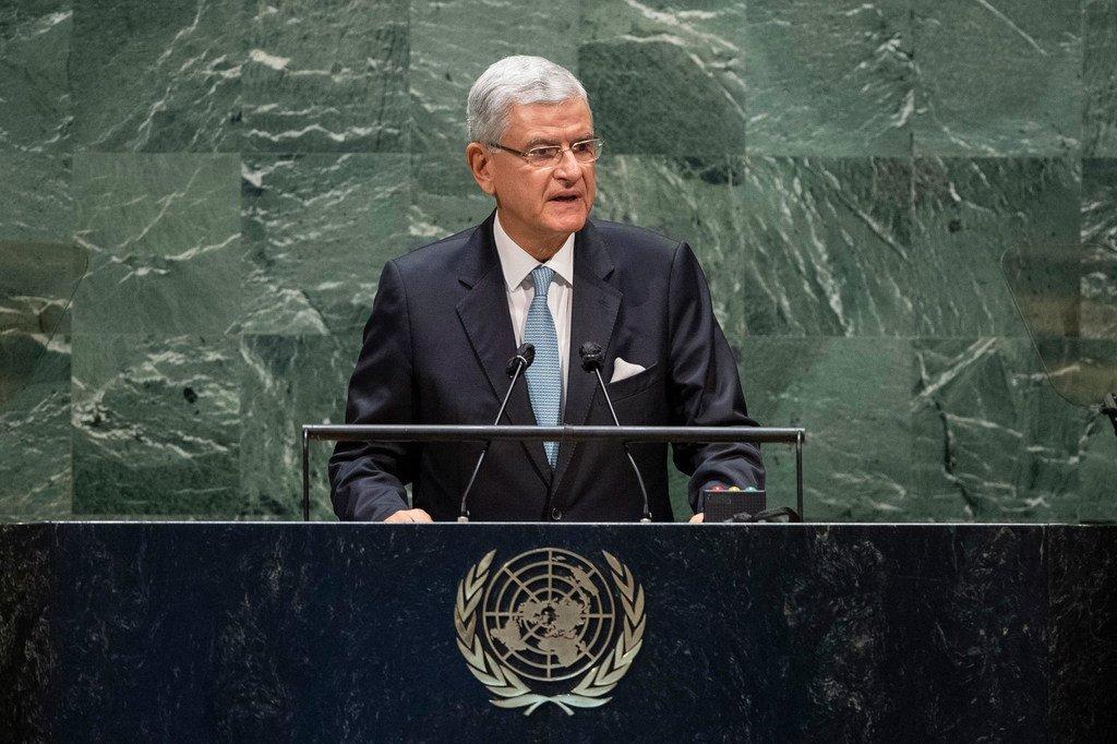 Volkan Bozkir, président de la 75e session de l'Assemblée générale des Nations Unies, ouvre le débat général de la soixante-quinzième session de l'Assemblée générale