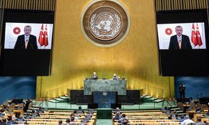President Tayyip Erdoğan of of Turkey addresses the General Debate of the General Assembly's 75th session.