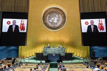 土耳其总统埃尔多安在联合国大会第75届会议上发表视频讲话。