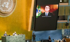 President Jair Messias Bolsonaro (on screen) of Brazil addresses the general debate of the General Assembly's seventy-fifth session.