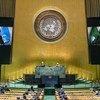 Cyril Ramaphosa (à l'écran), Président de l'Afrique du Sud et Président en exercice de l'Union africaine s'adresse au débat général de la soixante-quinzième session de l'Assemblée générale de l'ONU