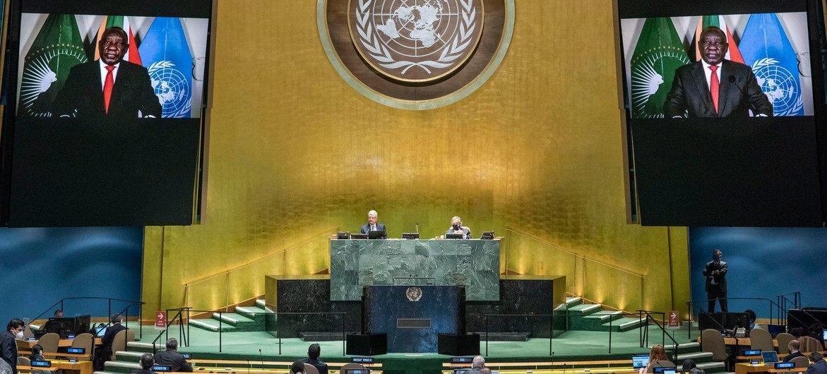 南非总统拉马福萨在联合国大会第75届会议上发表视频讲话。