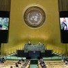古巴国家元首、国务委员会主席兼部长会议主席迪亚斯-卡内尔在联合国大会第75届会议上发表视频讲话。