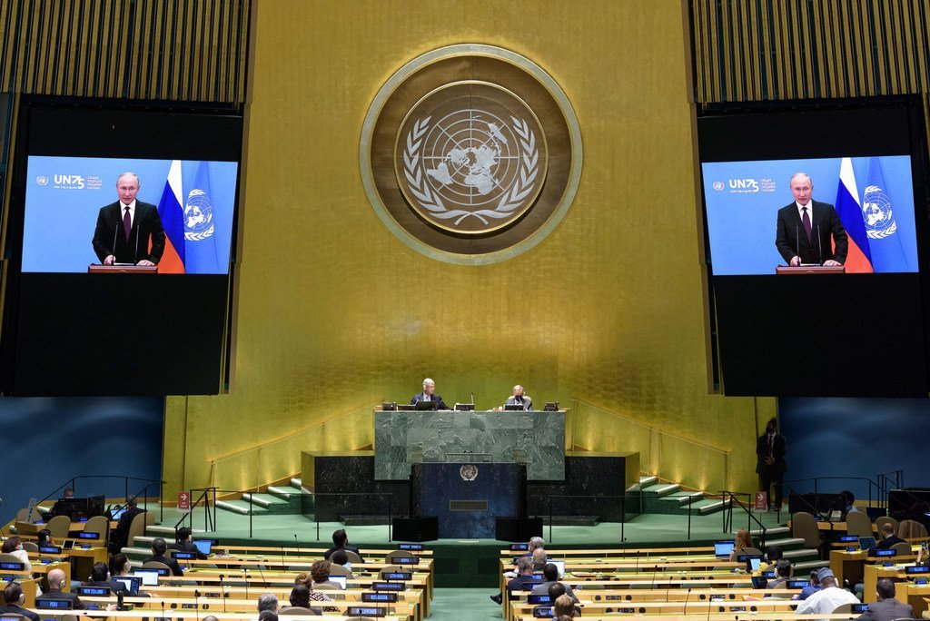 President Matamela Vladimir Putin (on screen) of the Russian Federation addresses the general debate of the General Assembly's seventy-fifth session.