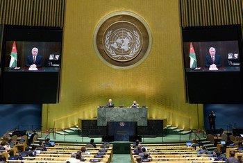 الملك الأردني عبد الله الثاني بن الحسين يخاطب الجمعية العامة في دورتها الخامسة والسبعين.