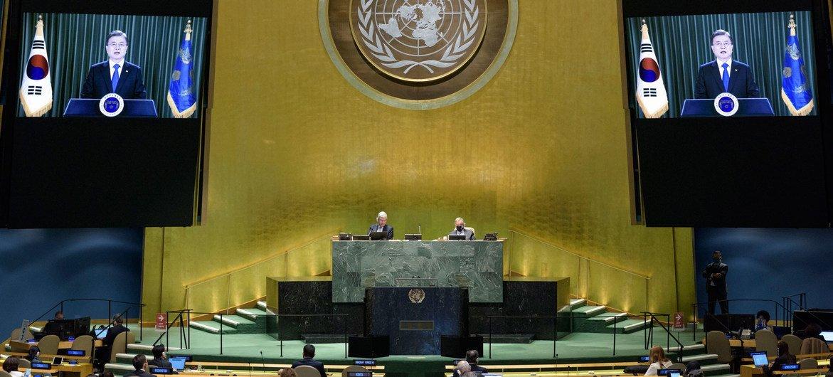 韩国总统文在寅在联合国大会第75届会议上发表视频讲话。