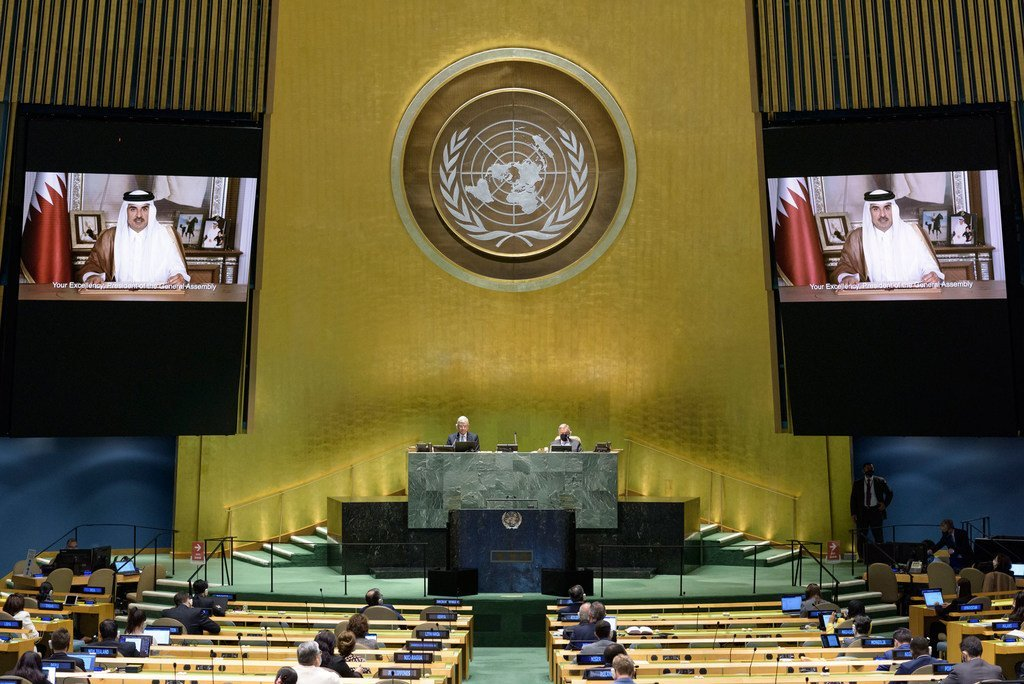 His Highness Sheikh Tamim bin Hamad Al-Thani (on screen), Emir of the State of Qatar, addresses the general debate of the General Assembly's seventy-fifth session.
