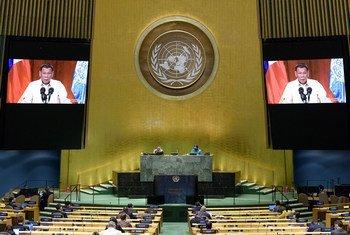菲律宾总统杜特尔特在联合国大会第75届会议上发表视频讲话。