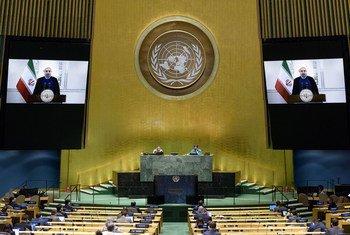 伊朗总统鲁哈尼在联合国大会第75届会议上发表视频讲话。