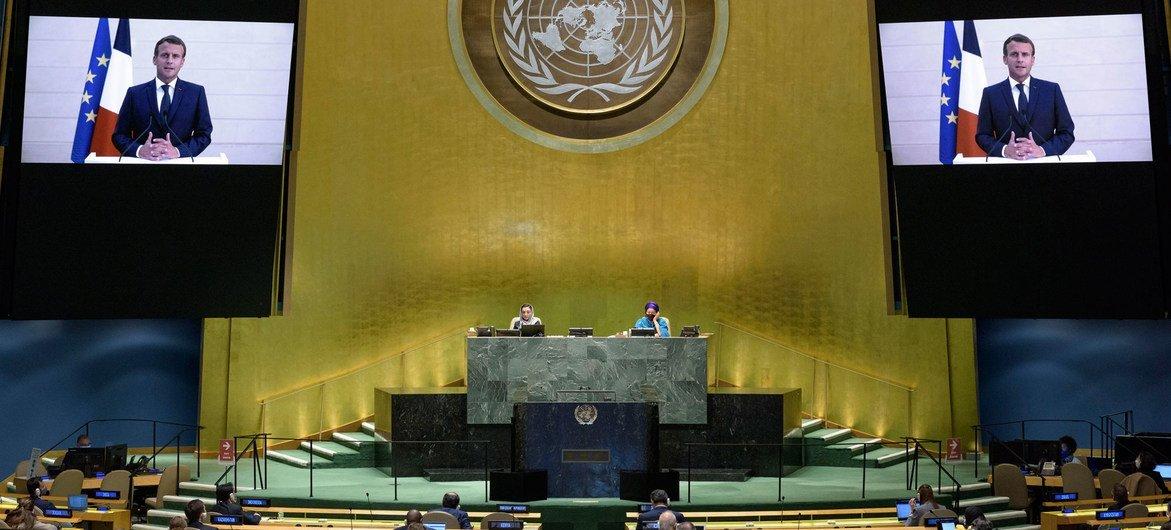 法国总统马克龙在联合国大会第75届会议上发表视频讲话。