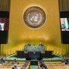 Президент Туркменистана Гурбангулы Бердымухамедов выступает в Генеральной Ассамблее ООН. Фото из архива.