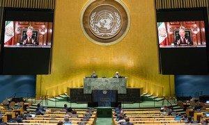 El presidente de México, Andrés Manuel López Obrador, en su discurso a la Asamblea General de la ONU