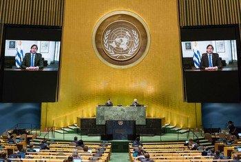 El Presidente Luis Lacalle Pou de Uruguay se dirige mediante un mensaje pregrabado al debate general del septuagésimo quinto período de sesiones de la Asamblea General.
