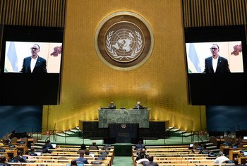 President Paul Kagame (on screen) of Rwanda addresses the general debate of the General Assembly's seventy-fifth session.
