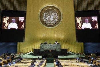 President Gotabaya Rajapaksa (on screen) of Sri Lanka addresses the general debate of the General Assembly's seventy-fifth session