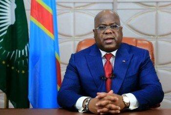 Le Président de la République démocratique du Congo, Félix Tshisekedi, s'adressant au 75e débat général de l'Assemblée générale des Nations Unies depuis Kinshasa.