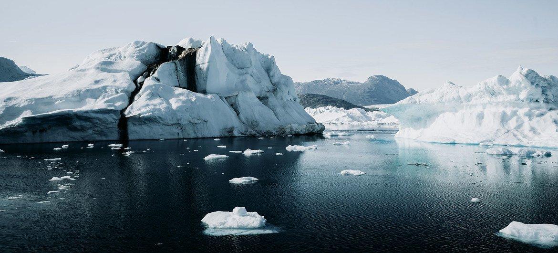Айсберги в Гренландии. На острове продолжается таяние ледников.