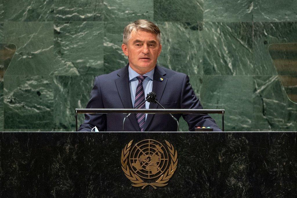 Željko Komšić, Chairman of the Presidency of Bosnia and Herzegovina, addresses the general debate of the UN General Assembly's 76th session.
