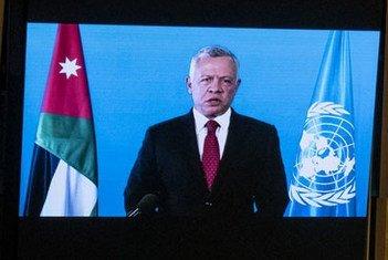العاهل الأردني الملك عبد الله الثاني بن الحسين يلقي كلمة مسجّلة، أمام الدورة 76 للجمعية العامة