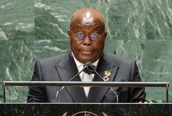 Rais Nana Addo Dankwa Akufo-Addo wa Ghana akihutubia mjadala mkuu wa mkutano wa 76 wa Baraza Kuu la UN New York, Marekani