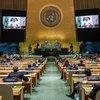 King Salman Bin Abdulaziz Al-Saud of Saudi Arabia addresses the general debate of the UN General Assembly's 76th session.