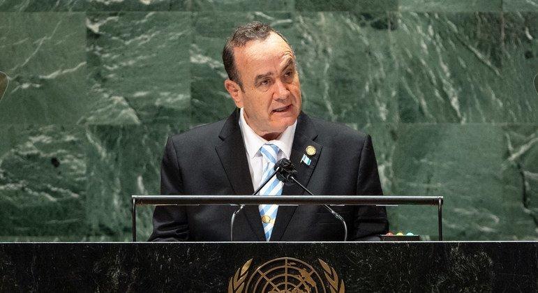 El Presidente de Guatemala, Alejandro Giammattei Falla, interviene en el debate general de la 76ª sesión de la Asamblea General de la ONU.