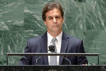 Luis Lacalle, presidente de Uruguay, en la Asamblea General