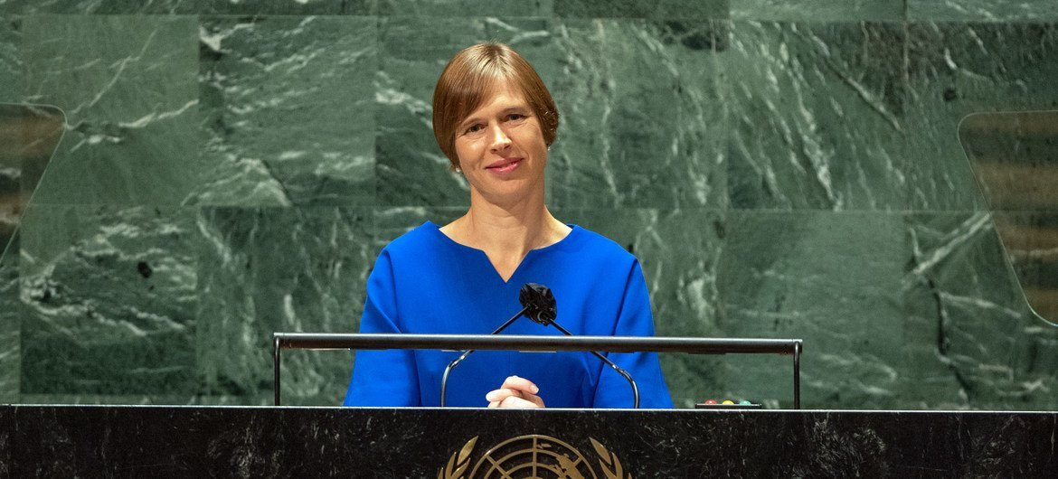 President Kersti Kaljulaid of Estonia addresses the general debate of the UN General Assembly's 76th session.
