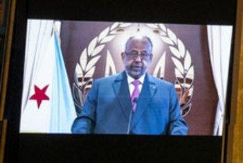 رئيس جمهورية جيبوتي، إسماعيل عمر جيله، يلقي كلمة بلاده في المناقشة العامة للدورة 76 للجمعية العامة للأمم المتحدة.