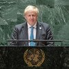 Prime Minister Boris Johnson of the United Kingdom of Great Britain and Northern Ireland addresses the general debate of the UN General Assembly's 76th session.
