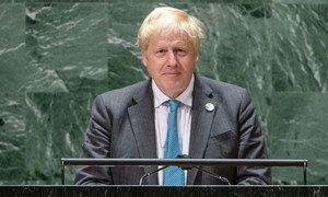 Le Premier ministre Boris Johnson du Royaume-Uni de Grande-Bretagne et d'Irlande du Nord prend la parole lors du débat général de la 76eme session de l'Assemblée générale des Nations Unies.