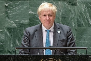 英国首相约翰逊在第76届联大一般性辩论中发表致辞。