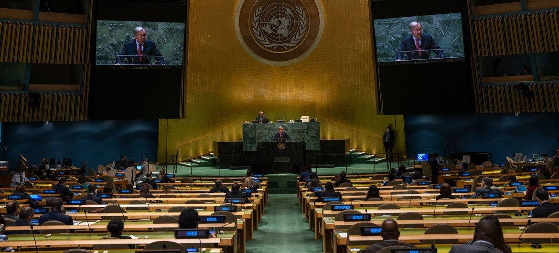 Le Secrétaire général de l'ONU, António Guterres, lors de la commémoration du 20e anniversaire de l'adoption de la Déclaration et du Programme d'action de Durban.