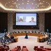 秘书长负责非洲之角事务的特使帕南·安南加(左)和主管和平行动副秘书长让·皮埃尔·拉克鲁瓦(右)向联合国安理会成员简要介绍了苏丹和南苏丹的情况和阿卜耶伊局势。