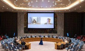 Parfait Onanga-Anyanga, Special Envoy of the Secretary-General for the Horn of Africa (left) and Jean-Pierre Lacroix (right), Under-Secretary-General for Peace Operations, brief UN Security Council members virtually on the Sudan and South Sudan and the situation in Abyei.