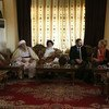 Special Representative and head of the UN Assistance Mission in Iraq Jeanine Hennis-Plasschaert meeting Baba Sheikh, the Yezidi Supreme Spiritual Leader and member of the Yezidi Spiritual Council, and other Council members in Shekhan, Iraq.